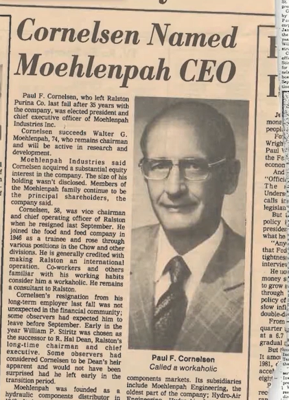 MiTek's History - Newspaper clipping of story about Paul Cornelson buying a portion of Hydro-Air Engineering