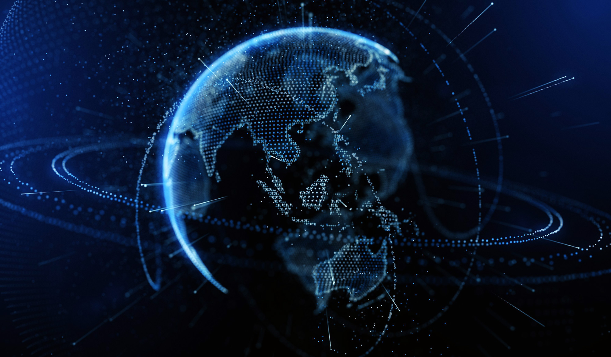 MiTek's Global Presence - A black graphic of space and a blue Earth