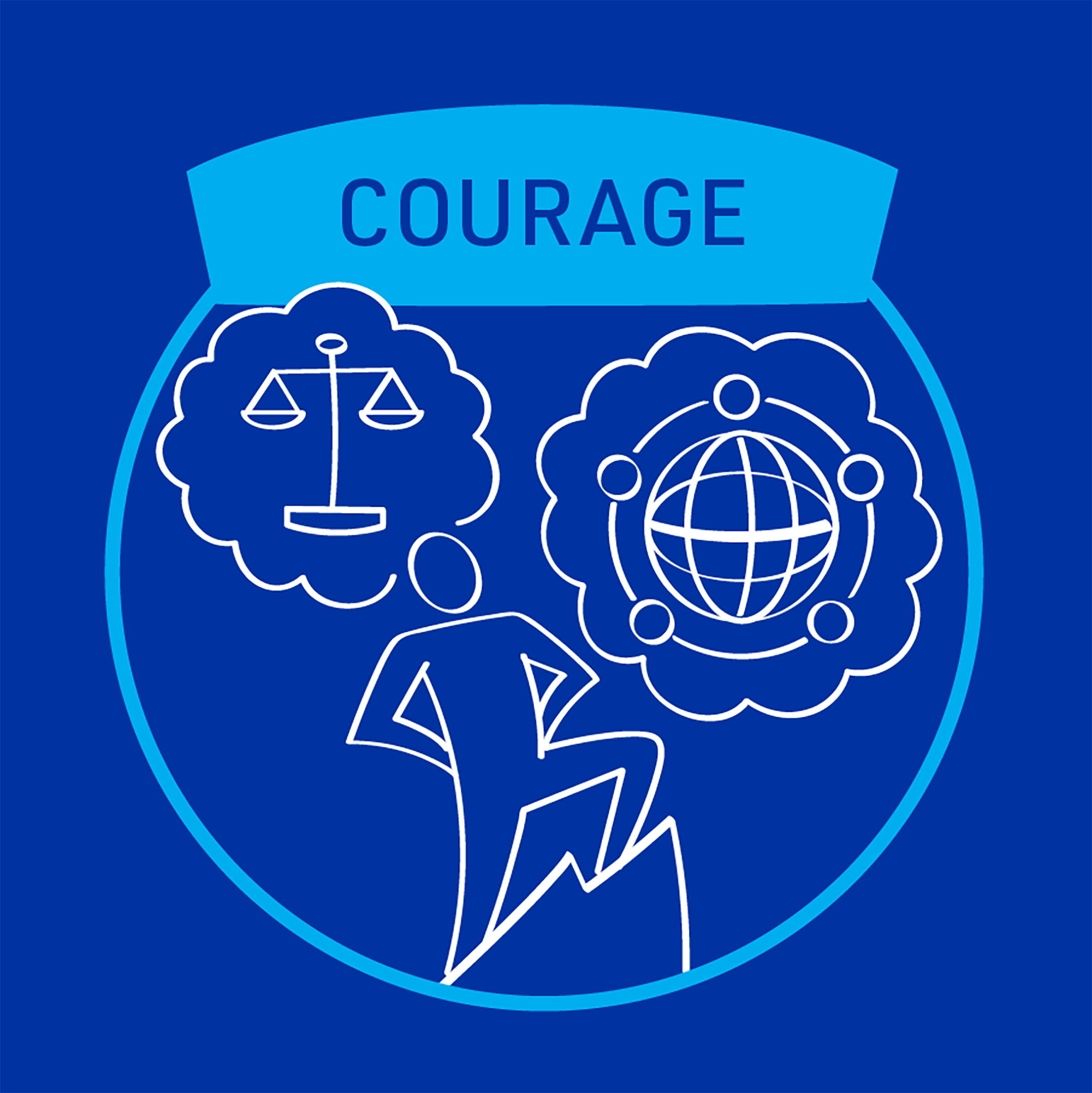 MiTek's guiding principle of courage - A square graphic of a person summiting a mountain