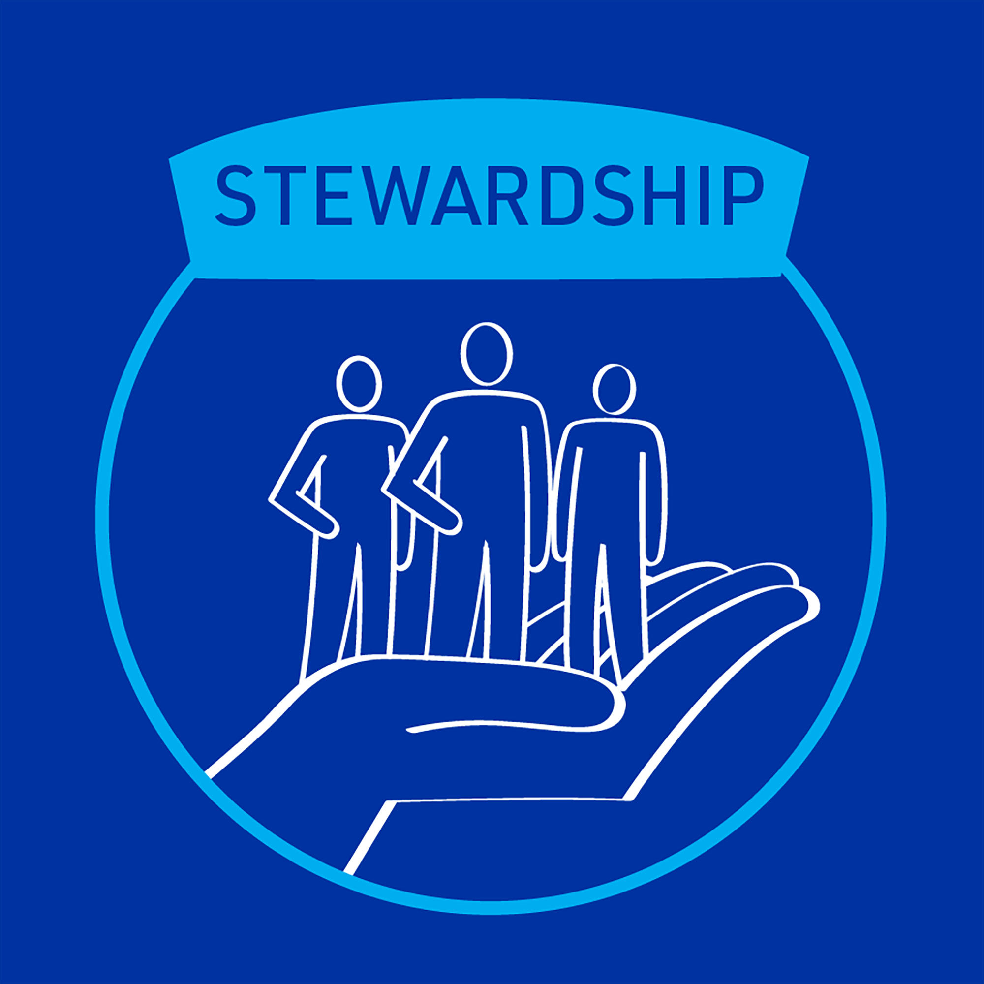 MiTek's guiding principle of stewardship - A square graphic of a large hand holding up three people standing