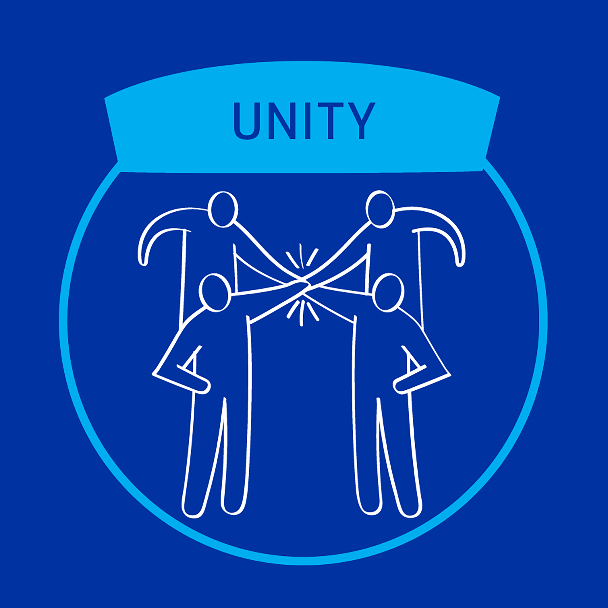 MiTek's guiding principle of unity - A square graphic of four people with their hands connected in the middle