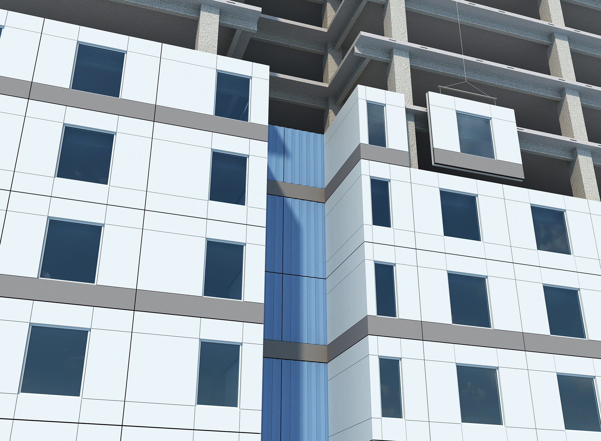 Building Design Engineered Systems and Products–MiTek'sOnewallsystem being installed on a multi-storycommercial building