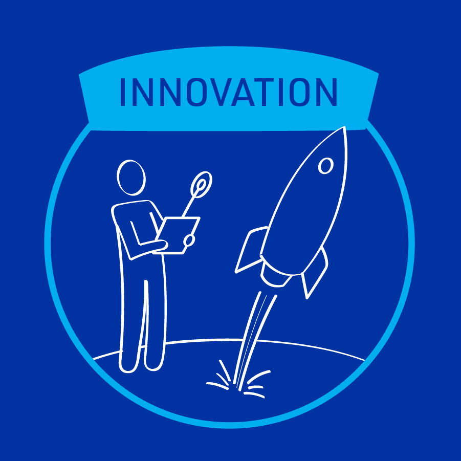 MiTek's guiding principle of innovation - A square graphic of a person holding a controller and launching a rocket