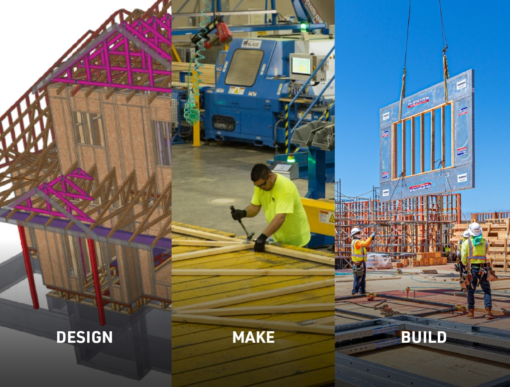 Design Make Build - A image divided into three parts with the first showing a 3D model, the second showing off-site construction with a person buldign a truss and the third showing a prefabricated wall being hoisted into place