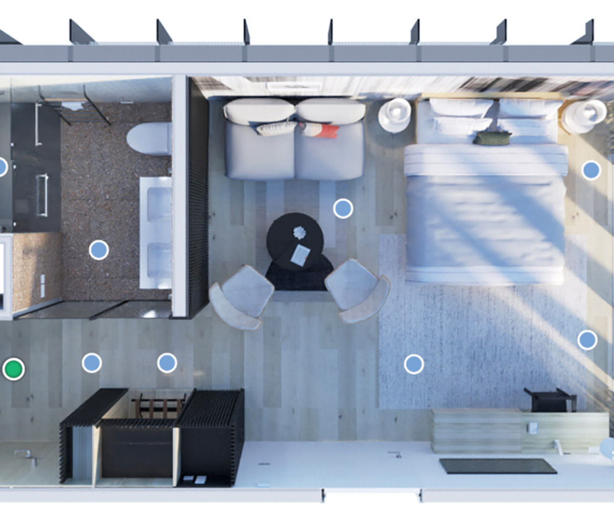 MiTek 3D Design Modeling - Top-down view of a 3D model of an apartment with furniture