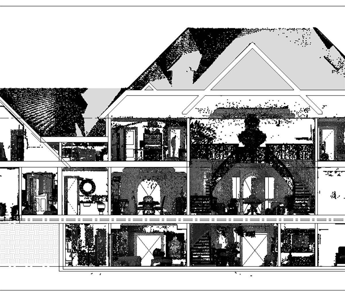 MiTek 3D Scan Documenting - Black and white cutaway of a scanned, three-story building