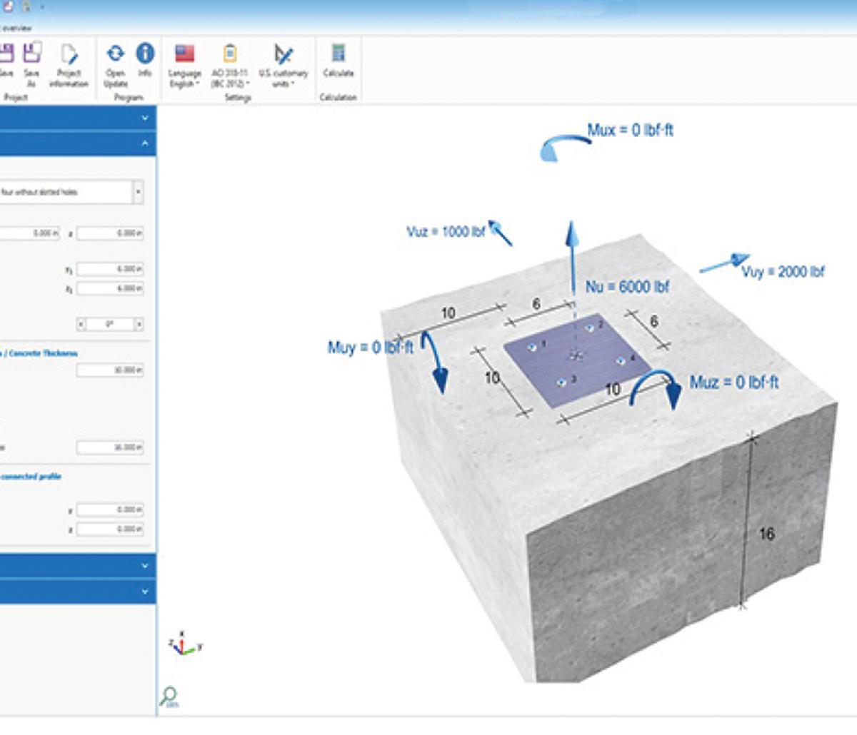 MiTek Anchor Design Software - Screenshot of MiTek Anchor Design Software with model of cement and anchor