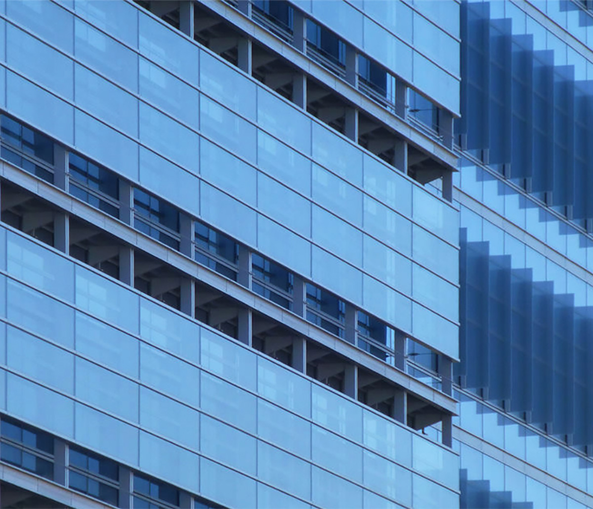 Benson Curtain Wall Engineered Systems Products - Close-up of a high-rise constructed of Benson Curtain Wall