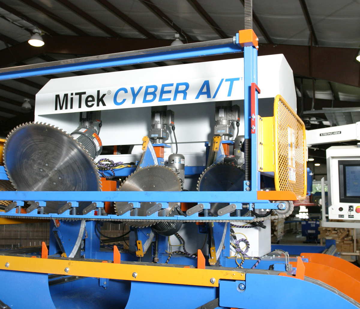 MiTek Cyber A/T Automated Solution Solutions - Cyber A/T saw in a factory