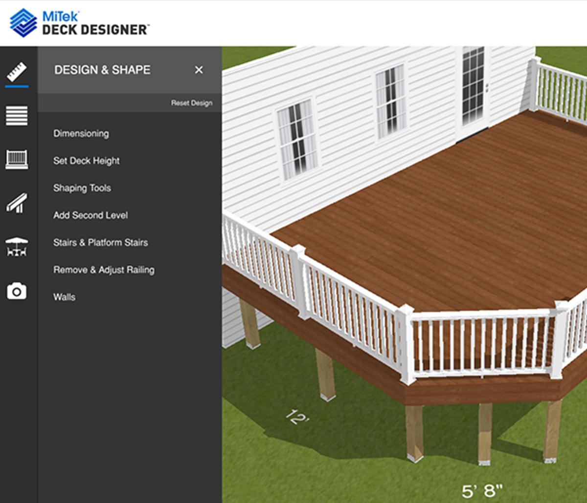 MiTek Deck Designer Software - Screenshot of Deck Designer software