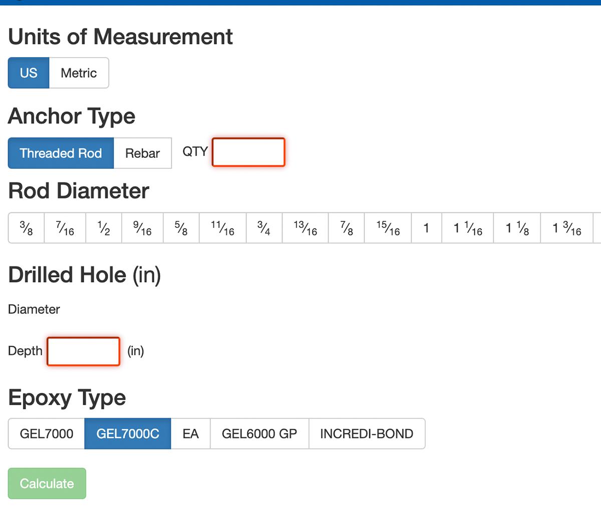MiTek Epoxy Estimator Software - Screenshot of epoxy estimator software