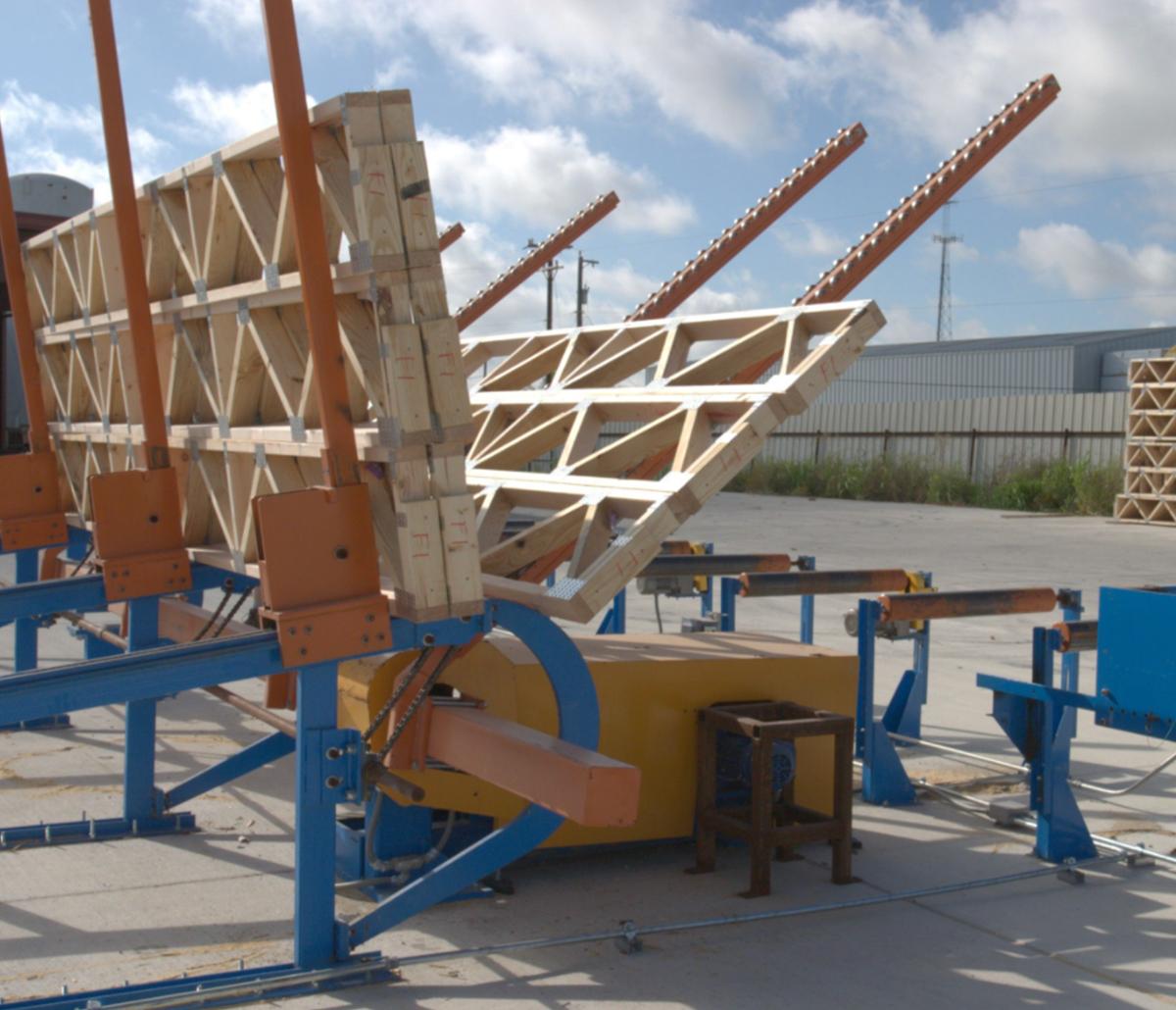 MiTek Floor Truss Stacker Automated Solutions - Floor truss stacker moving floor trusses