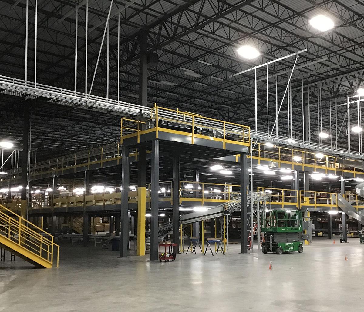 MiTek Mezzanine Systems Engineered Systems Products - Mezzanine inside a warehouse