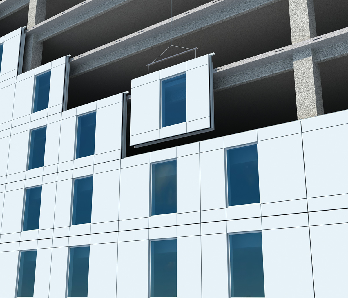 MiTek Onewall Engineered Systems Products - 3D render of a Onewall unit being hoisted into place on a high-rise building