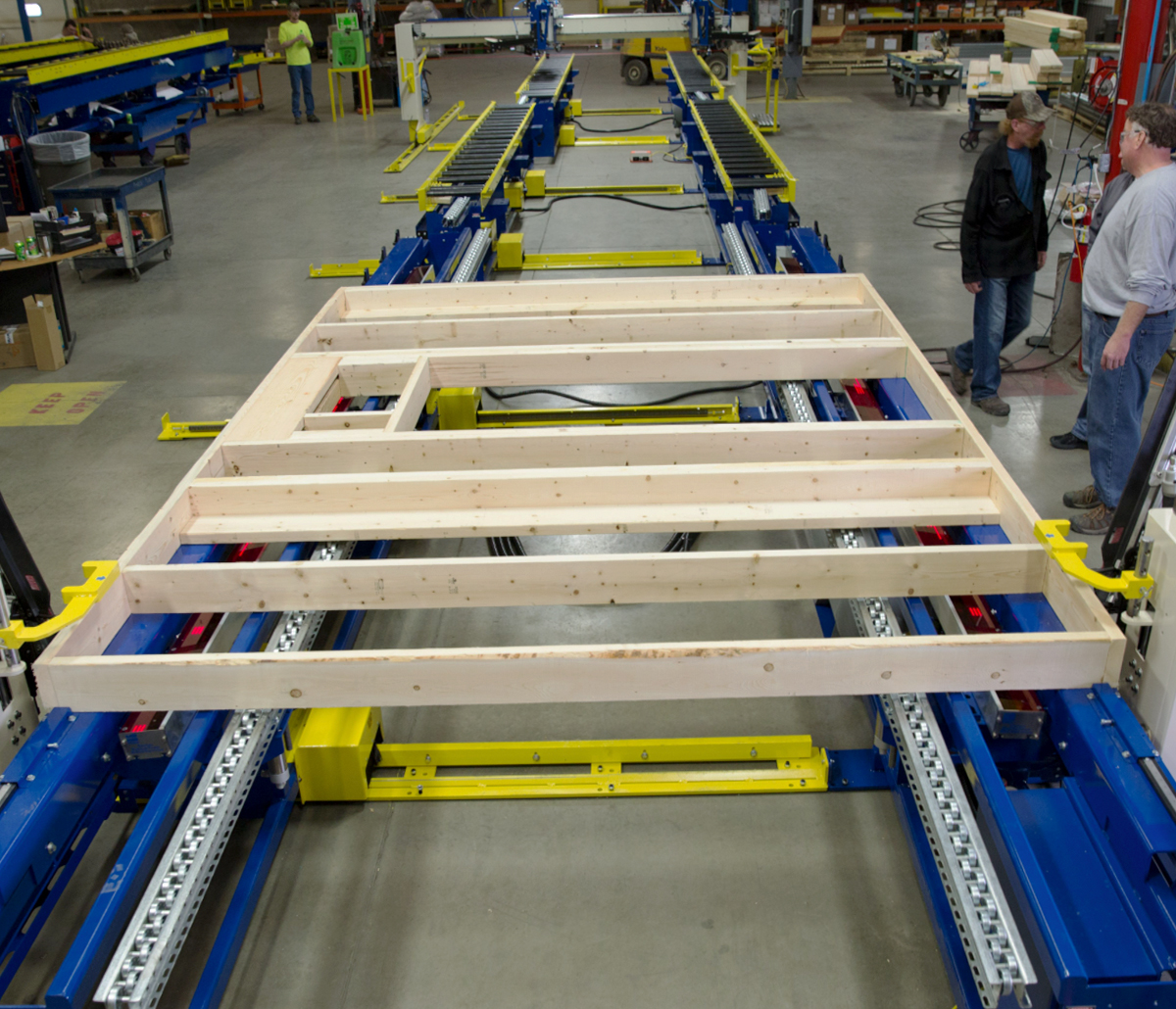MiTek Panels Plus Wall Equipment Automated Solutions - Pales Plus Wall being assembled in warehouse