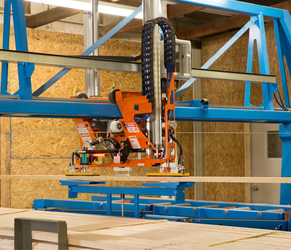 MiTek Ranger Retrieval System Automated Solutions - Retrieval system moving lumber in facility