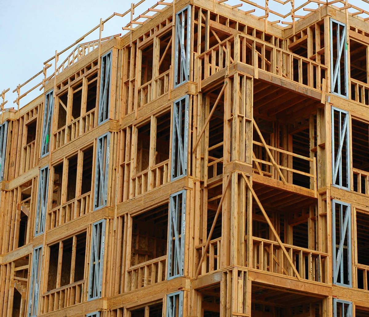 MiTek Shear Wall System Engineered Systems Products - Shear Wall System in place on jobsite