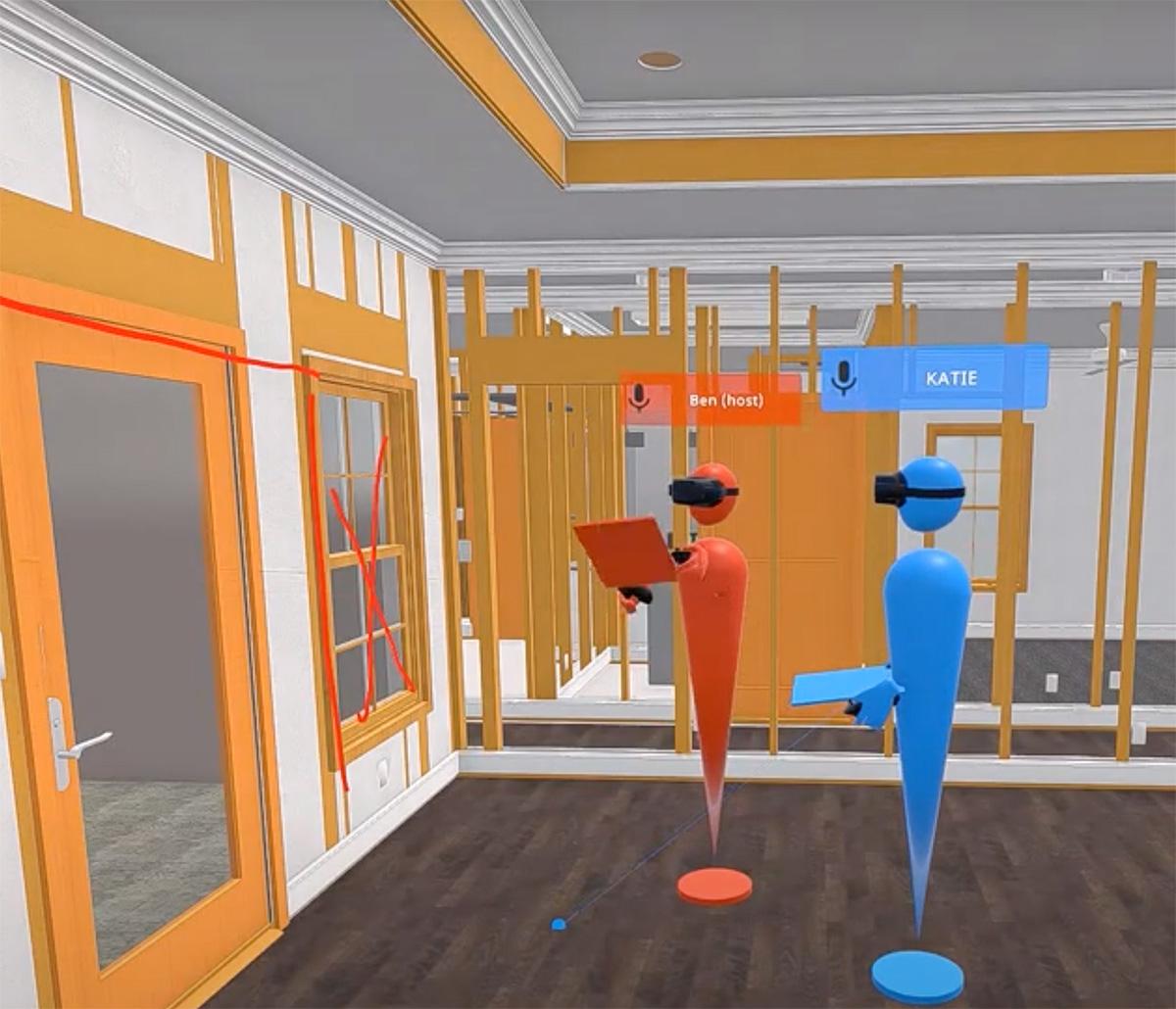 MiTek Visualization Services - Two 3D avatars standing in an AR jobsite