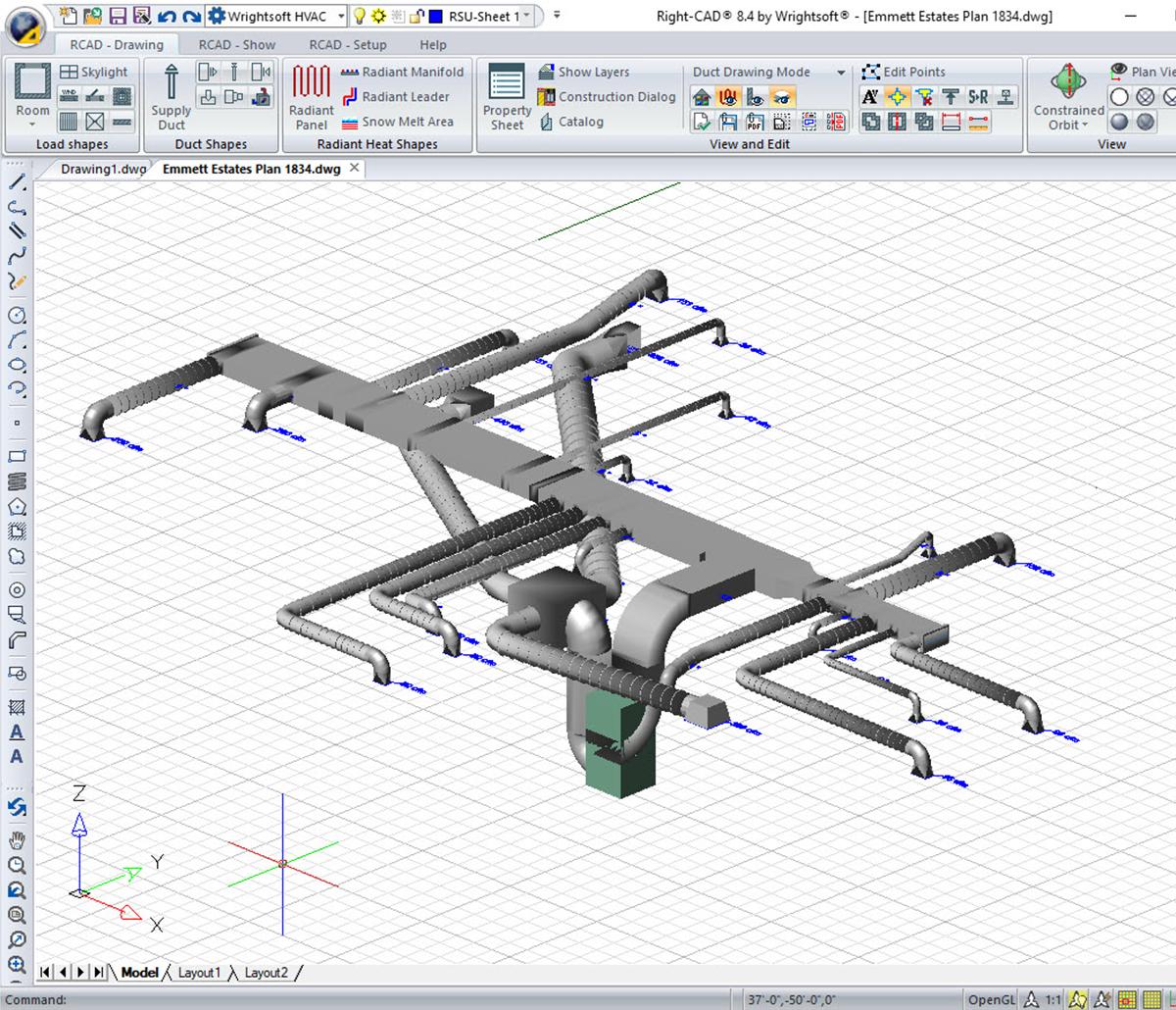 MiTek Wrightsoft 3D HVAC Design Software - Screenshot of Wrightsoft 3D HVAC design software