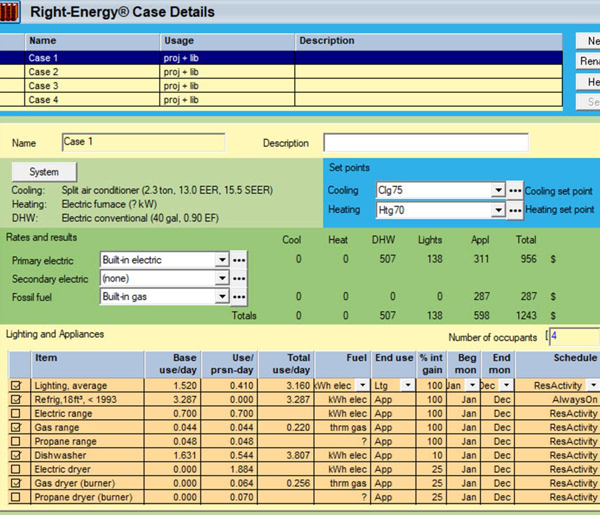 MiTek Wrightsoft Energy Use Analysis Software - Screenshot of Wrightsoft energy use software