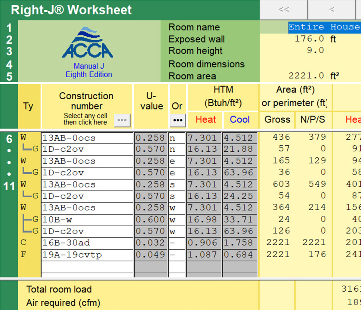 MiTek Wrightsoft Load Calculation Software - Screenshot of Wrightsoft load calculation software